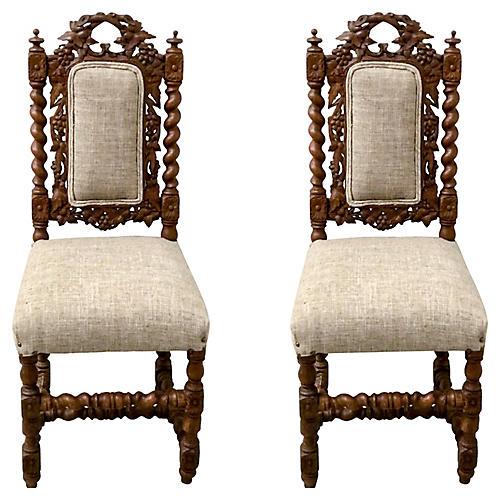 19th- C. Barley Twist Side Chairs,Pair
