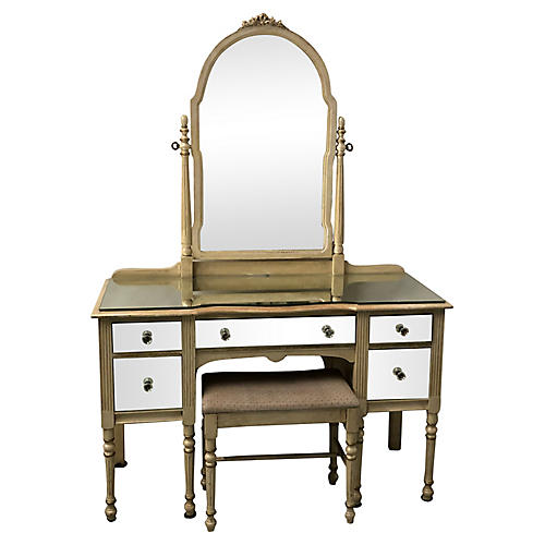 1930s Mirrored French Style Vanity /Desk