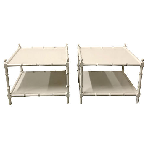 Faux Bamboo Tables, Pair
