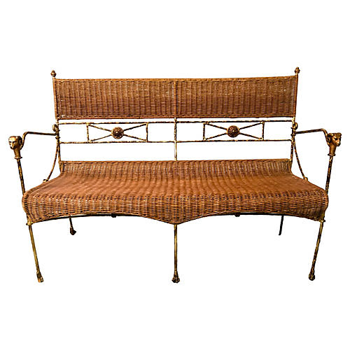 Neo-Classical Wicker Settee