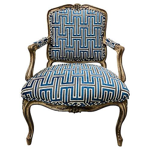 French Beregere Chair in Cut Velvet