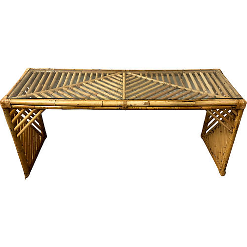 1970s Bamboo Console Table
