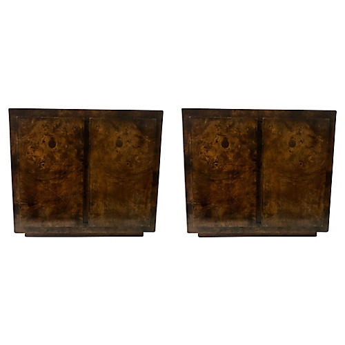 John Stuart Burlwood Side Tables,Pair