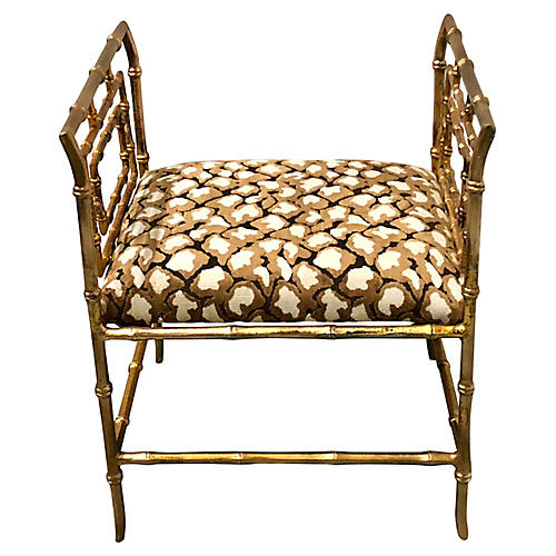 Hollywood Regency Gilt Faux Bamboo Bench