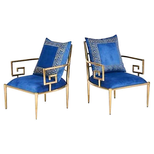 Hollywood Regency Style Brass Chairs,S/2