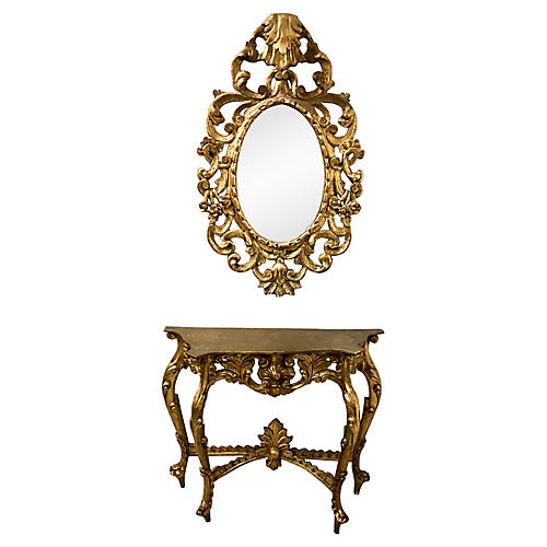 Carved Giltwood Console & Mirror