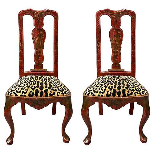 Chinoiserie Queen Anne Chairs, Pair