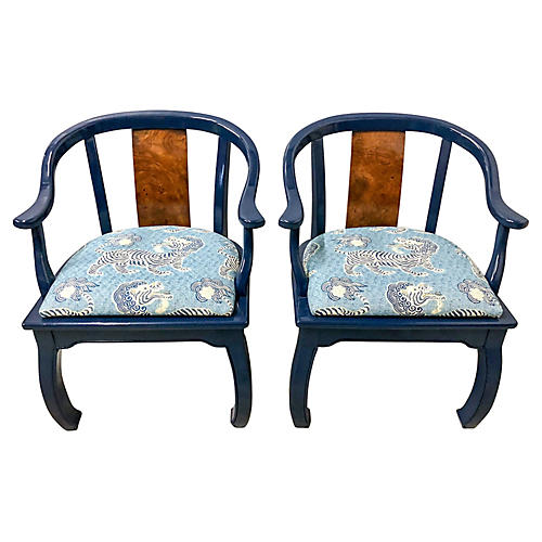 Burl & Lacquer Asian Style Chaira,Pair