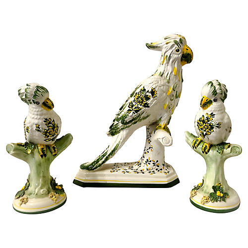 Signed Italian Parrot Figurines,S/3