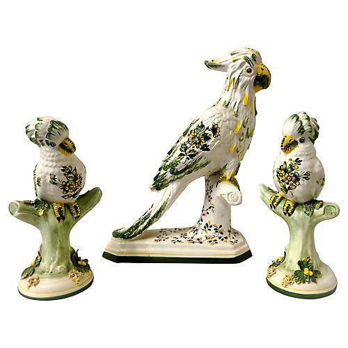 Signed Italian Parrot Figurines,S/3