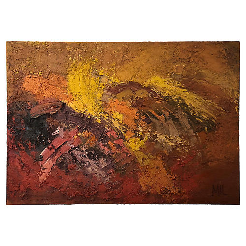 1960s Abstract Oil on Canvas