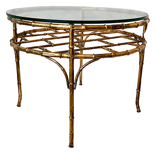 Faux Bamboo Gilt Metal Coffee Table