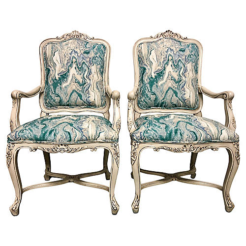 Louis XV Style Bergere Chairs, Pair