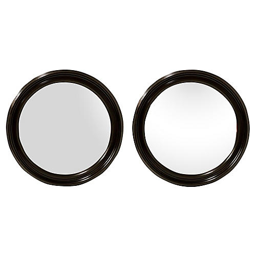 Round Walnut Mirrors, Pair