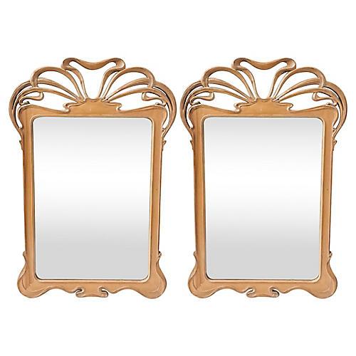 Art Nouveau-Style Mirrors, Pair