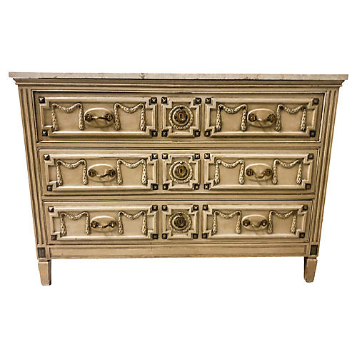 Hollywood Regency Marble Top Chest