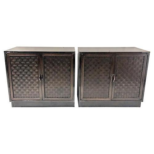 Basketweave Modern Cabinets, Pair