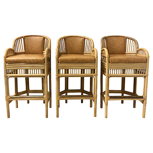 Chippendale Style Bamboo Barstools,S/3