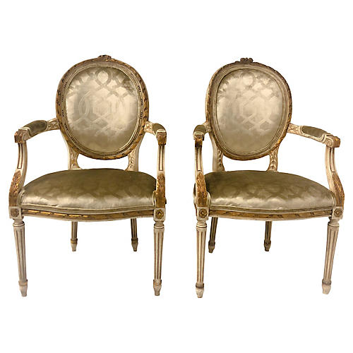Giltwood French Armchairs,Pair