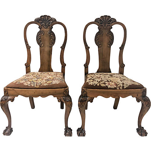 19th C. Queen Anne Side Chairs,Pair