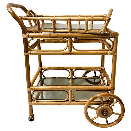 1970s Rattan Bar Cart