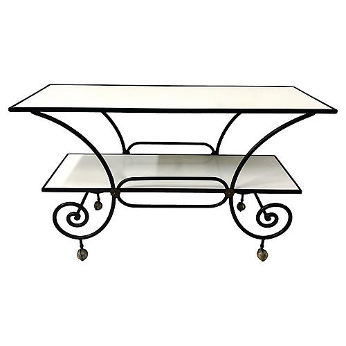 Milk Glass & Iron Baker's Console Table