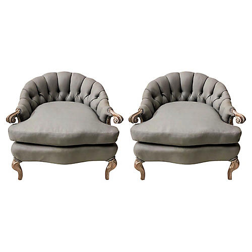 Hollywood Regency Style Chairs,Pair