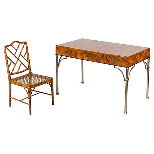 Italian Campaign Burlwood Desk & Chair