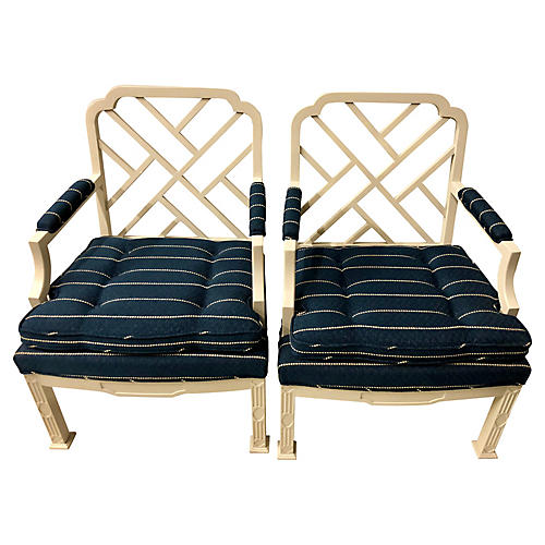E. Lambeth Chippendale-Style Chairs, S/2