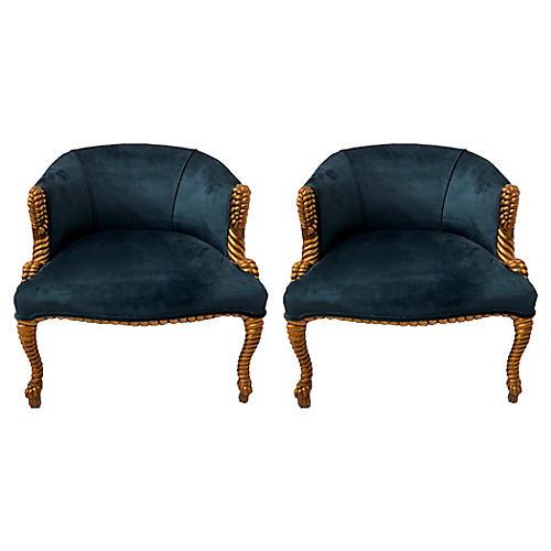 Gilt Rope & Tassel Barrel Chairs, Pair