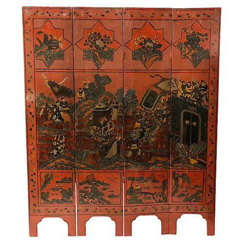 Early 20th-C. Asian Folding Screen