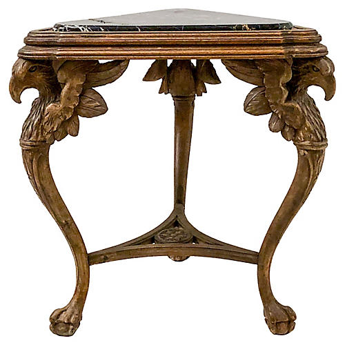 Antique Carved Italian Marble Top Table
