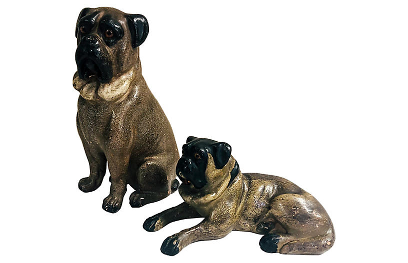 Antique Pug Figurines, S/2