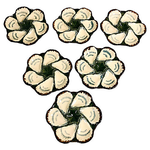 French Majolica Oyster Plates, S/6