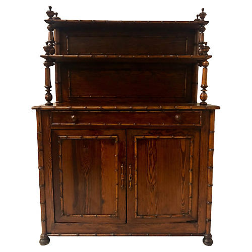 Antique Pine Faux Bamboo Cabinet