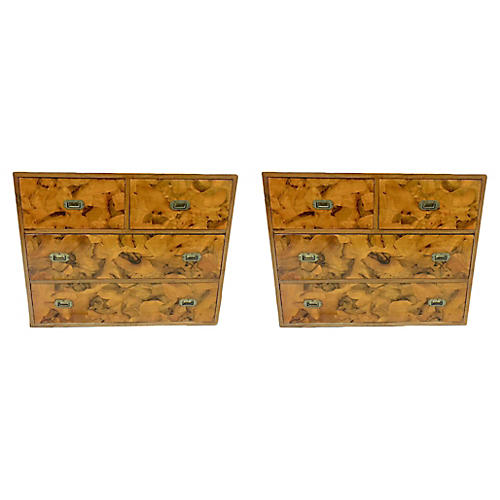 Burl Campaign Style Chests, Pair