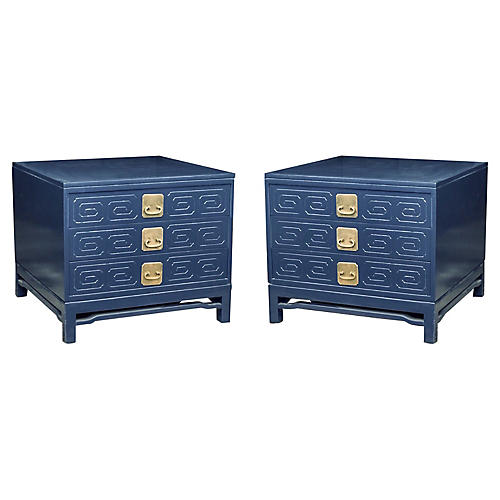 Hollywood Regency Side Tables, Pair