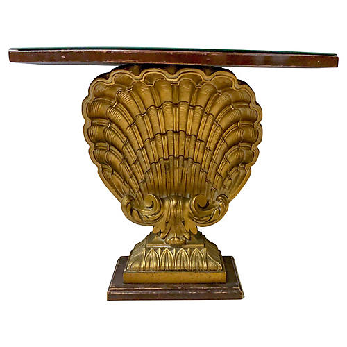 Hollywood Regency Shell Console Table