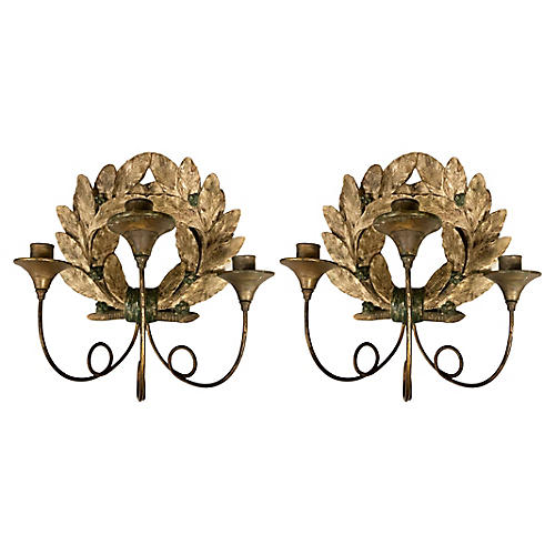 Antique French Candle Sconces, Pair