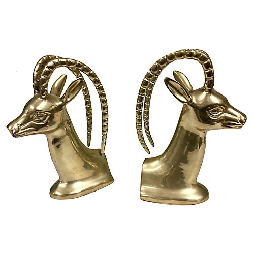 Hollywood Regency Brass Ibex Bookends