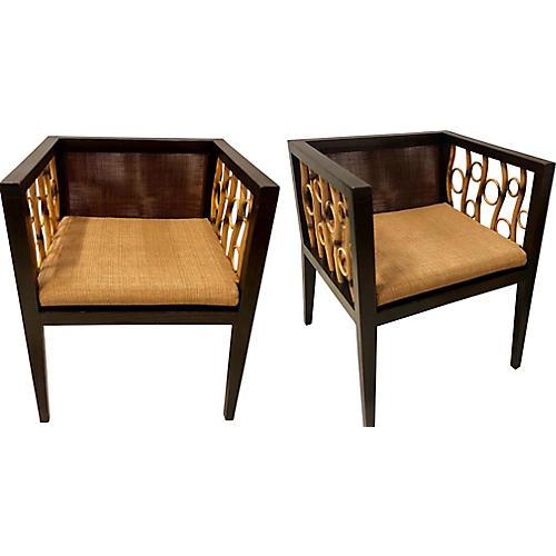 Mid-Century Modern Bamboo Chairs,Pair