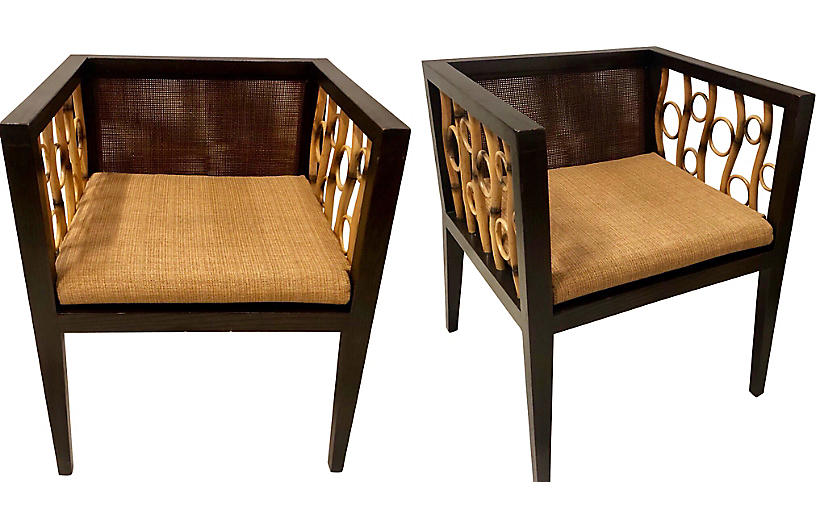 Mid-Century Modern Bamboo Chairs, Pair