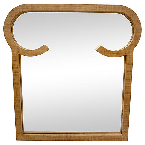 Modern Grasscloth-Wrapped Mirror
