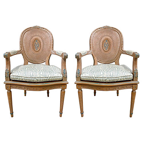 French-Style Caned Armchairs, Pair