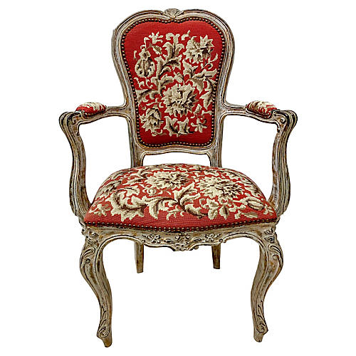 Early French Needlepoint Bergere Chair