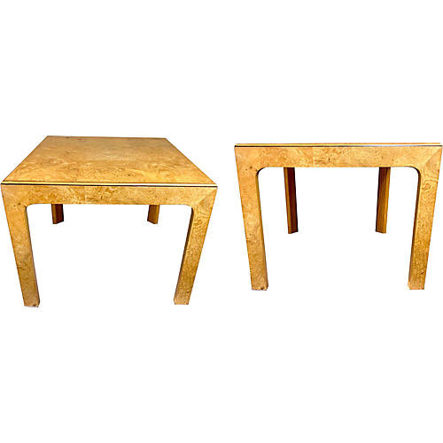 Henredon Patchwork Burlwood Tables, Pair