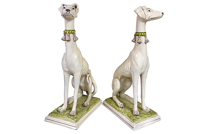 Hollywood Regency Whippets, Pair