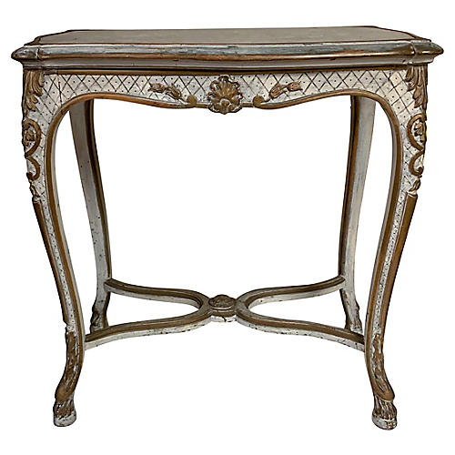 Antique French Side Table w/Embroidery
