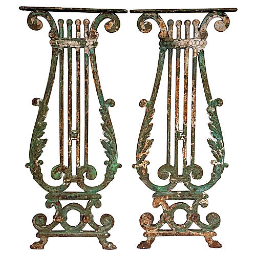 Antique French Iron Fragments, Pair
