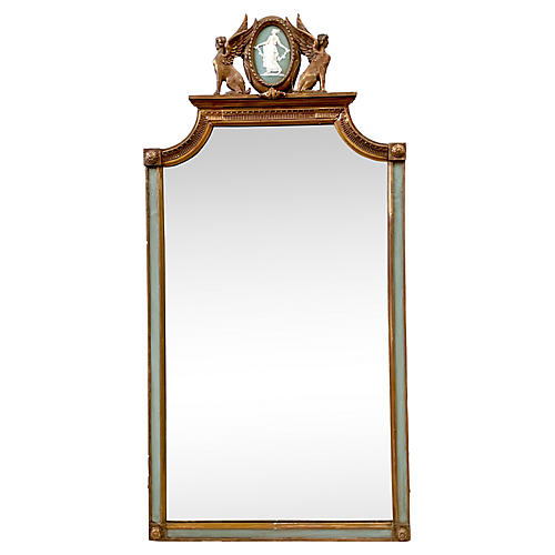 Antique Wedgwood Mounted Giltwood Mirror